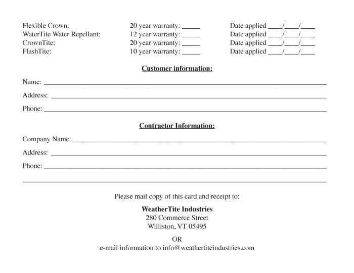 Warranty Card Page2